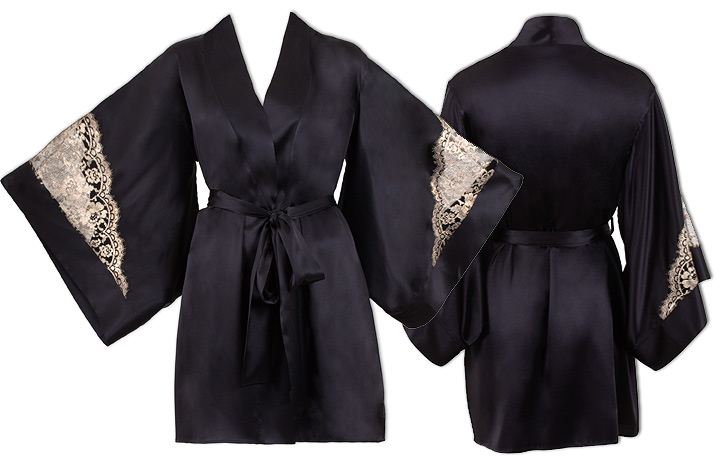 Emma Harris's new Cleo gold lace and black satin signature kimono featured on Lingerie Briefs