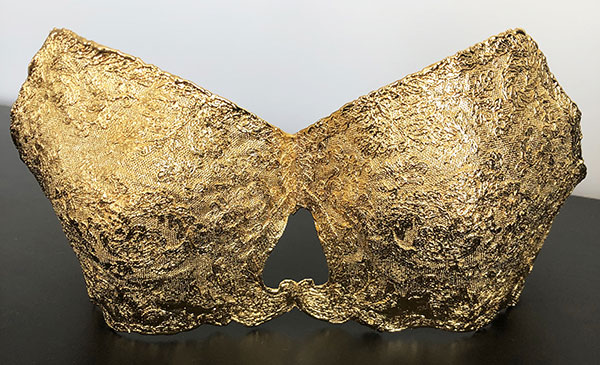Gold plated bra from the Gilded Lace Collection by Monika Knutsson as featured on Lingerie Briefs