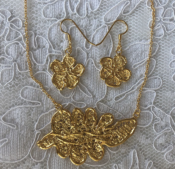 Gold plated necklace and earrings from the Gilded Lace Collection by Monika Knutsson as featured on Lingerie Briefs
