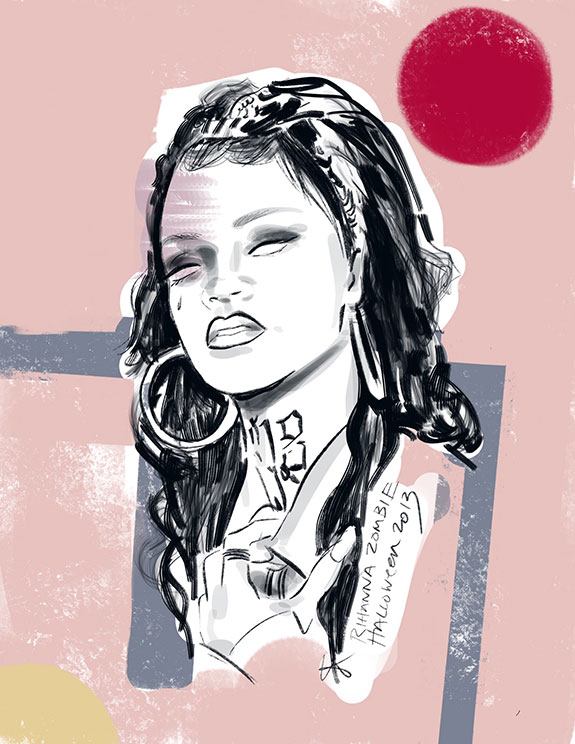 Zombie Life image of Rihanna as a Halloween zombie as illustrated by Tina Wilson for Lingerie Briefs