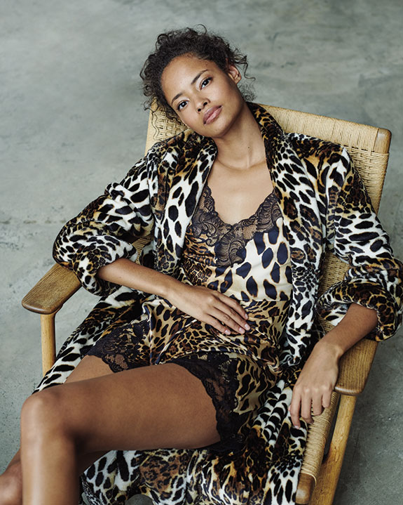 Natori Luxe Leopard animal print robe and lace trimmed chemise as featured on Lingerie Briefs
