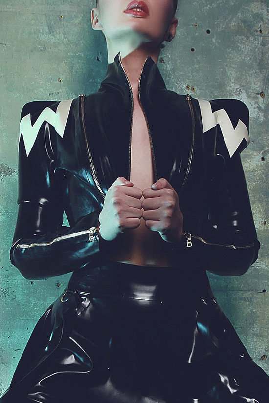 Torture Garden Latex presents Mosh in their eclectic latex and leather lingerie as featured on Lingerie Briefs