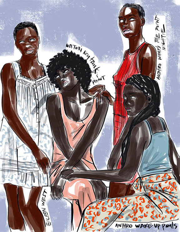 Natori, Eileen West and Anthropolgy sleepwear illustrated by Tina wilson for Lingerie Briefs