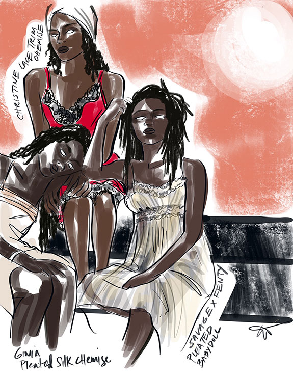 Fashion illustrations of Christine lace trim chemise, Ginia pleated silk chemise & Savage X Fenty