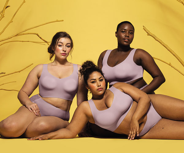 Evelyn & Bobbie Defy wirefree braette for curvy women as featured on Lingerie Briefs