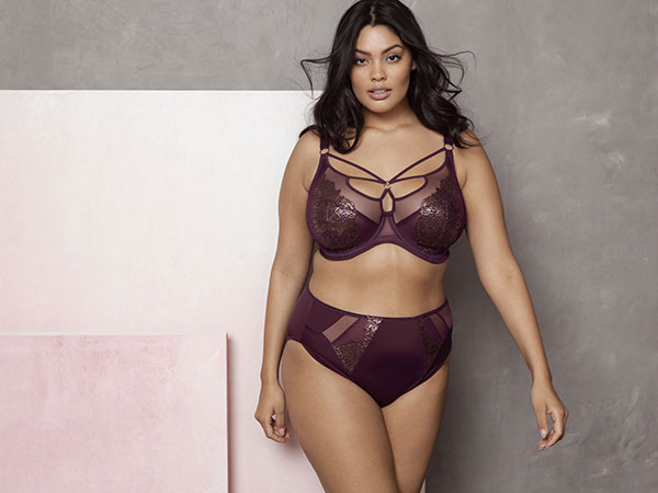 The Eugenie Plunge Bra in Gilded Berry makes a bold statement with chic strap detailing that accentuates a fabulous cleavage, alongside opulent foil-print embroidery to complete the look. The plunge style features a three section cup design and side support panels for an uplifting and supportive fit in sizes DD – JJ. as featured on Lingerie Briefs