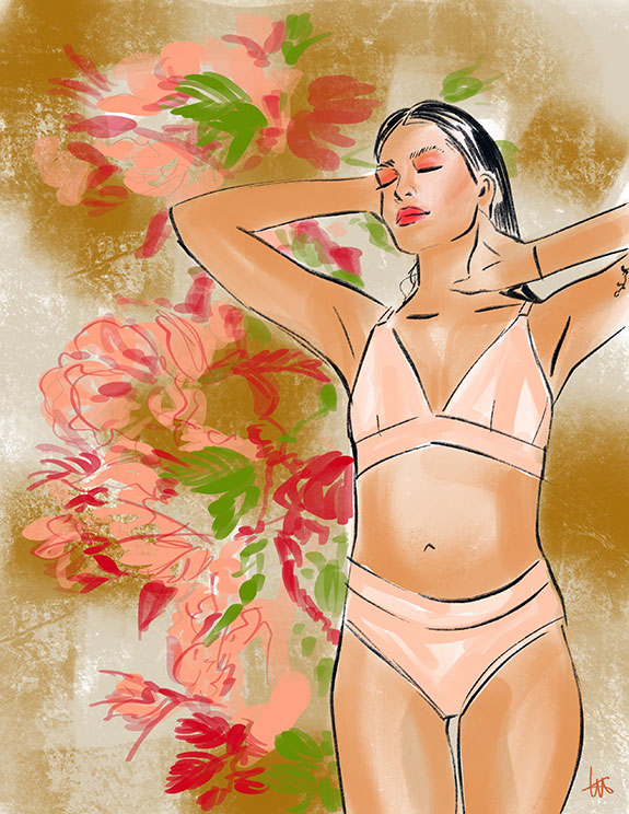 Organic Basics sustainable lingerie illustrated by Tina Wilson as featured on Lingerie Briefs