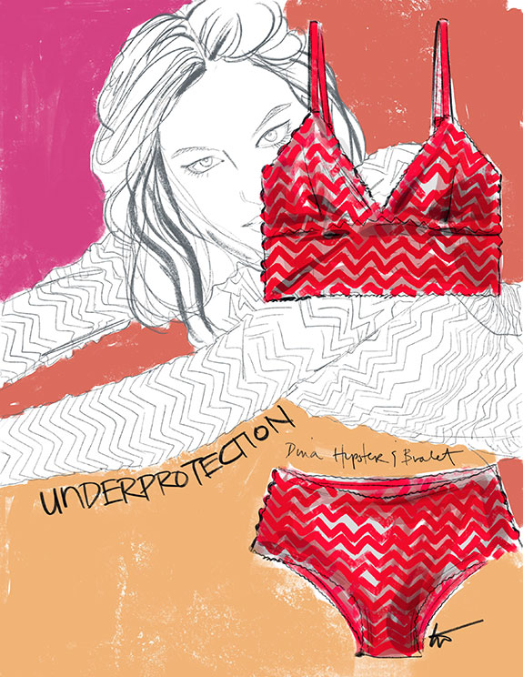 Underprotection sustainable lingerie illustrated by Tina Wilson as featured on Lingerie Briefs