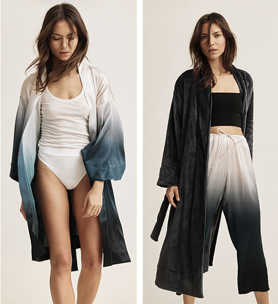 Skin Lingerie stretch silk ombre Tanvi Robe and Tilda Crop pant with organic cotton underwear and plush robe as featured on Lingerie Briefsas featured on Lingerie Briefs