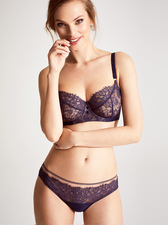 Katherine Hamilton's SS20 Abbie lingerie collection - in new purple featured on Lingerie Briefs