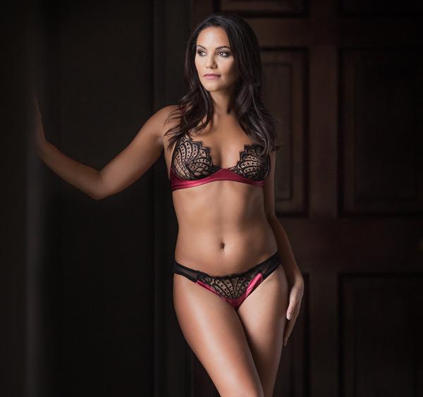 Emma Harris' ravishing Renee lingerie range in seasonal red - featured on Lingerie Briefs