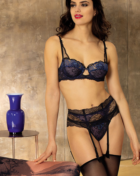 Lise Charmel Fete Prescieuse Collection in Blue on Lingerie Briefs