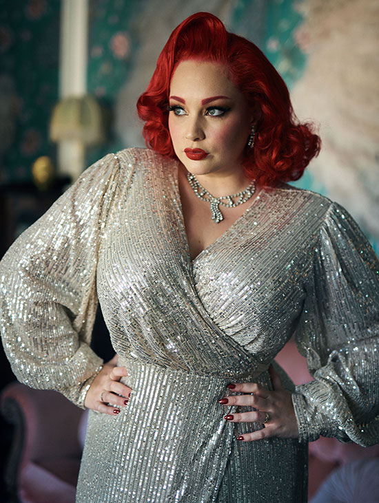 Nylon /Swish Reyna sequined robe as featured on Lingerie Briefs