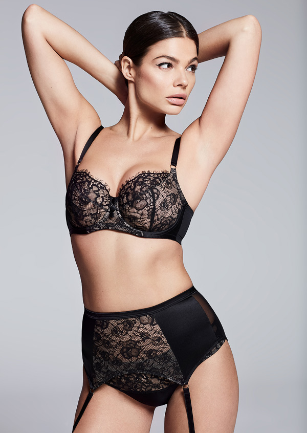 Katherine Hamilton's SS20 Abbie lingerie collection in classic black featured on Lingerie Briefs