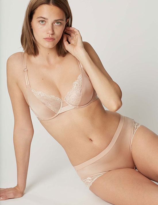Maison Lejaby curved underwire bra in beige from the Shade collection on Lingerie Briefs