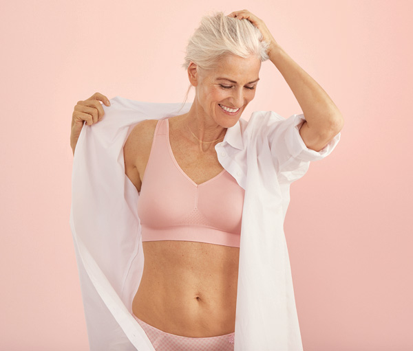 Anita Care's new everyday LOTTA post-mastectomy bra (5769X) is a seamless back closure pocketed bra - featured on Lingerie Briefs