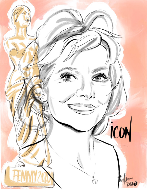 Femmy's Icon recipient Icon recipient. Industry's most prolific fit model is Dorothy Galligan - illustration by Tina Wilson, Lingerie Briefs