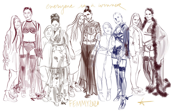 The six contestants are students majoring in intimate apparel from The Fashion Institute of Technology.  Illustrated by Tina Wilson on Lingerie Briefs