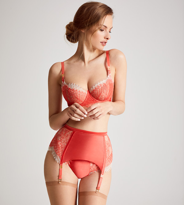 Katherine Hamilton Mariella Coral French Lace Bra, Brief and Garter featured on Lingerie Briefs