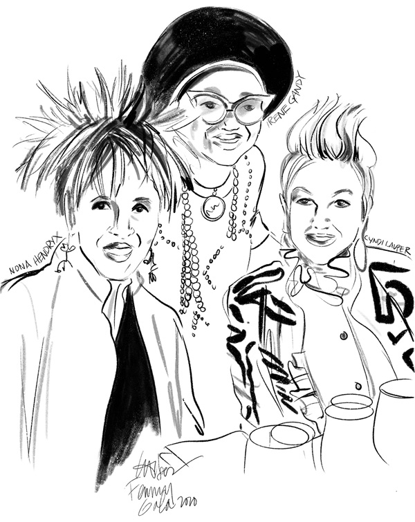 2020 Femmy Awards hosts Nona Hendrix, Irene Gandy and Cyndi Lauper - illustrated by Tina Wilson, Lingerie Briefs