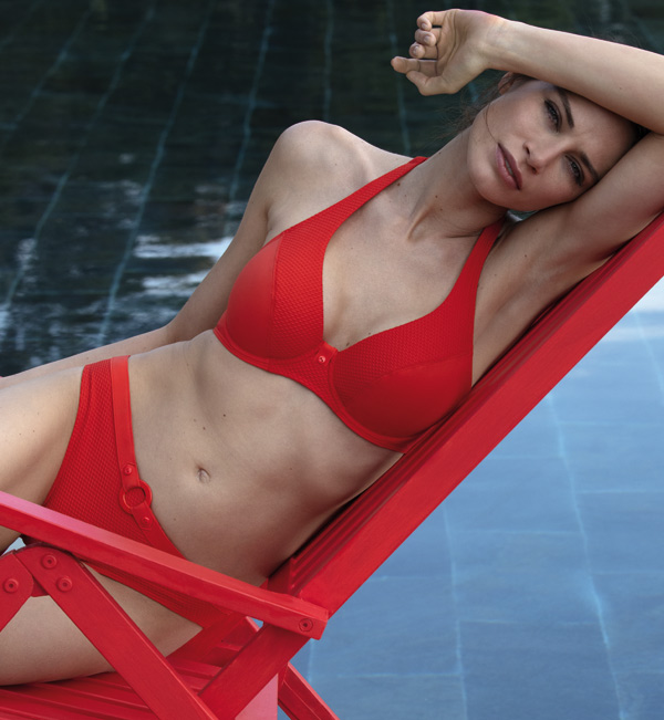 Empreinte 2020 Swimwear - Escale Collection in fire red - featured on Lingerie Briefs