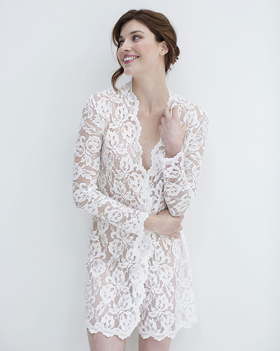 With A Serious Dream bridal lace robe as featured on Lingerie Briefs