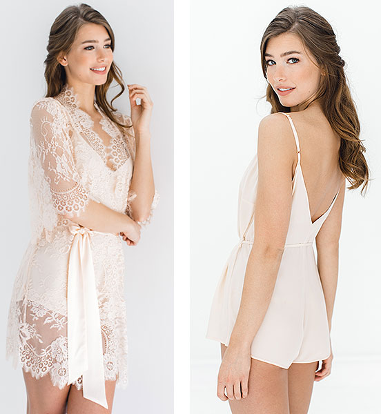 With A Serious Dream bridal robe and romper as featured on Lingerie Briefs