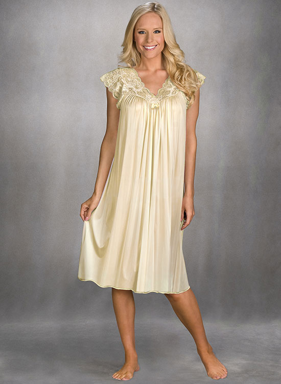 Flutter sleeve nylon nightgown from Shadowline on Lingerie Briefs