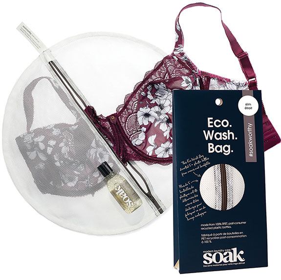 Soaak Eco-wash bags and sustainable packaging as featured on Lingerie Briefs