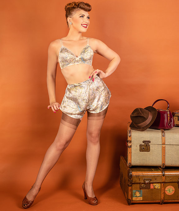 What Katie Did vintage map lingerie collection as featured on Lingerie Briefs