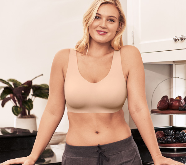 join a virtual happy hour with friends in Wacoal's Flawless Comfort Wire Free Bra - featured on Lingerie Briefs