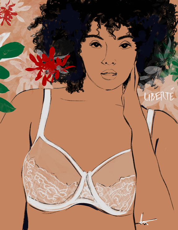Tina Wilson Illustrates Liberte, black owned lingerie company, featured on Lingerie Briefs