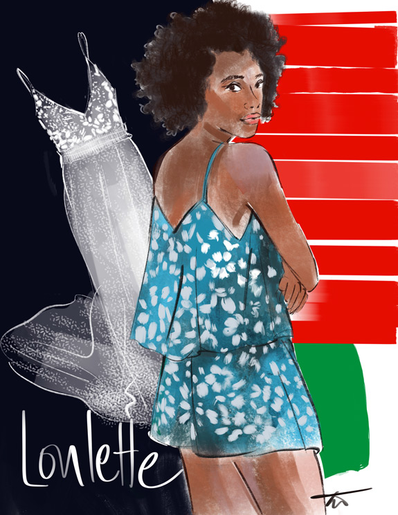 Tina Wilson Illustrates Loulette, black owned lingerie company, featured on Lingerie Briefs