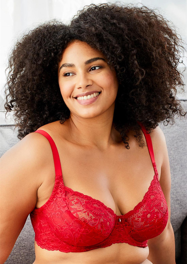 For a sexy, supportive all lace bra, there's Montelle's Divine Full Coverage bra in sweet red. on Lingerie Briefs