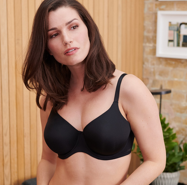 Porcelain Elan Non-Padded Bra. This super comfortable T-Shirt bra has cups that are moulded, but non-padded