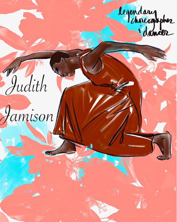 Tina Wilson illustrates legendary choreographer Judith Jamison on Lingerie Briefs