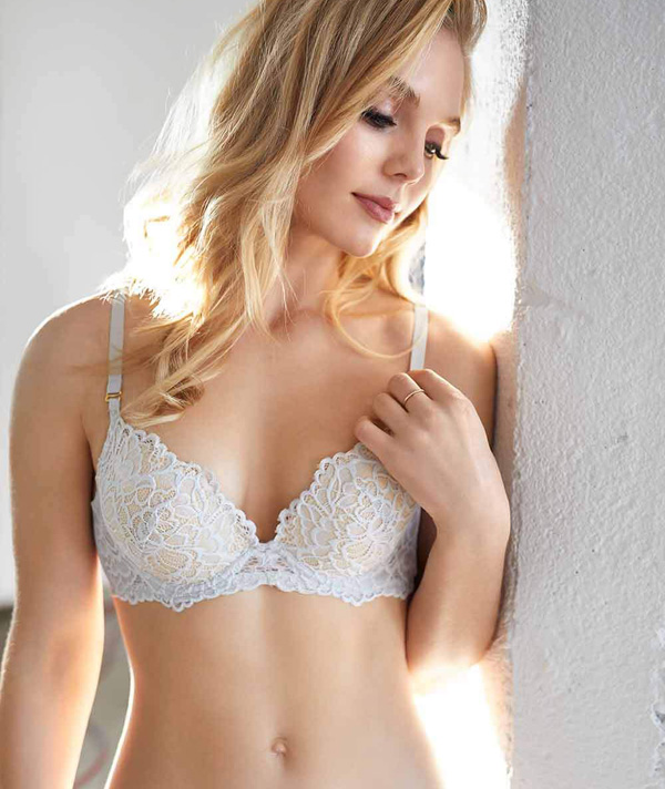 Arielle demi-cup, max push-up bra has soft lace all over - featured on Lingerie Briefs