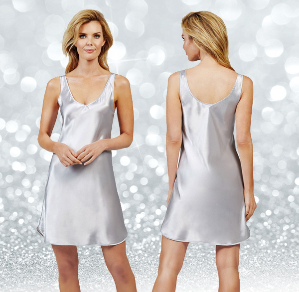 Shadowline introduces their Satin Essentials Wide Strap Chemise in silver. Featured on Lingerie Briefs
