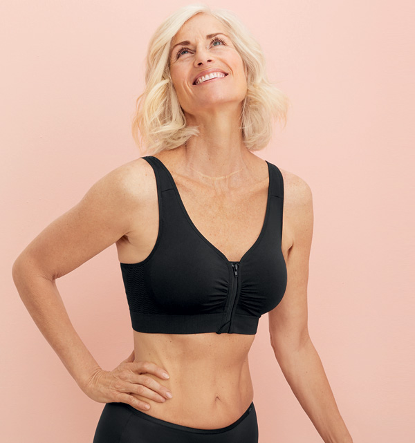Anita's Zip-front Lynn gives customers a sportier mastectomy bra option - featured on Lingerie Briefs