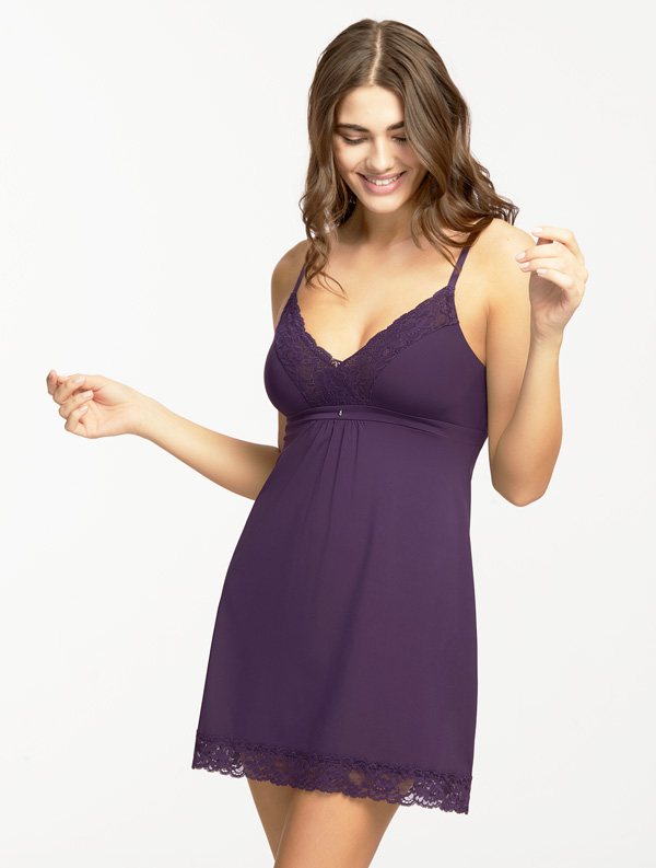 Montelle's Bust Support Chemise is available in over a dozen fashion colors including purple velvet featured on Lingerie Briefs