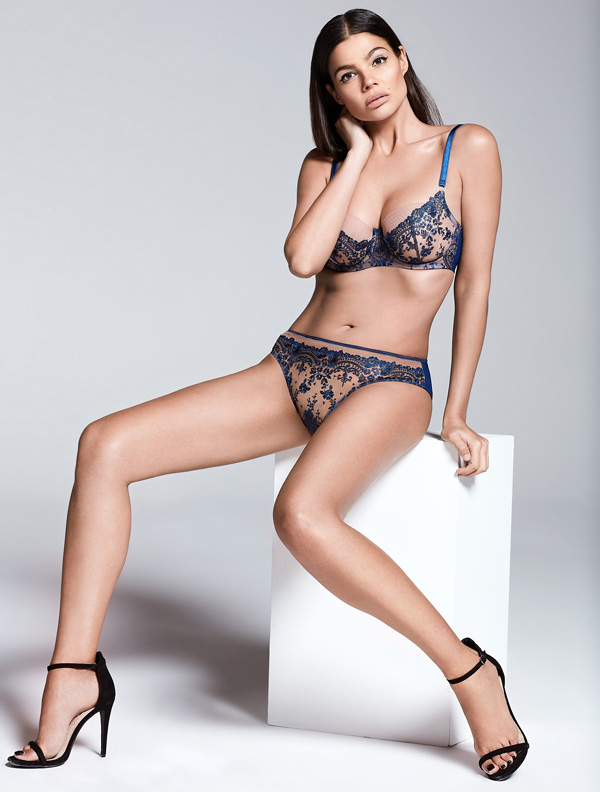 Katherine Hamilton Abrielle in royal blue as seen in Meghan Trainer music video - featured on Lingerie Briefs
