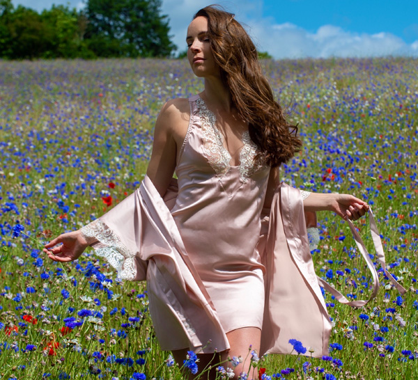Sassy D model for Emma Harris in the English countryside - featured on Lingerie Briefs