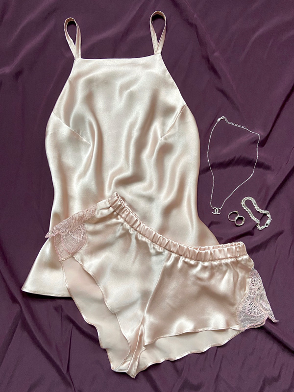 Emma Harris' Tiffany collection now in dusty pink - featured on Lingerie Briefs