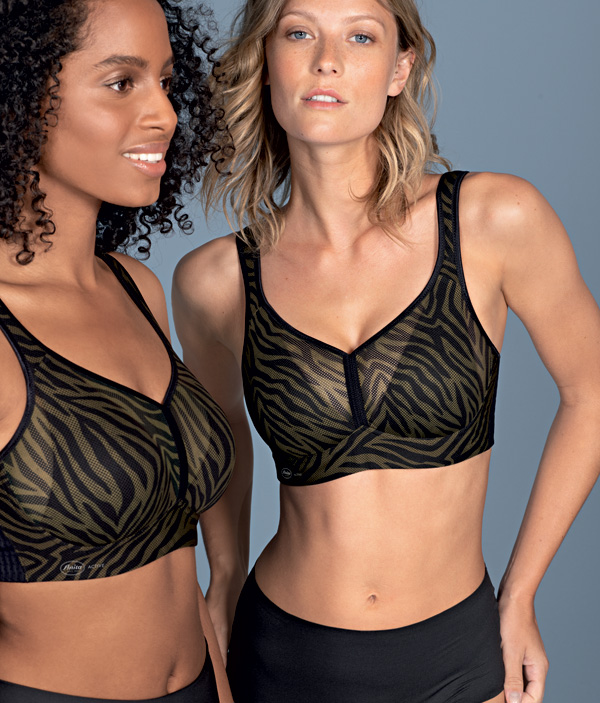 Anita's ultra light, Air Control Delta Pad Sports Bra now in zebra stripes featured on Lingerie Briefs