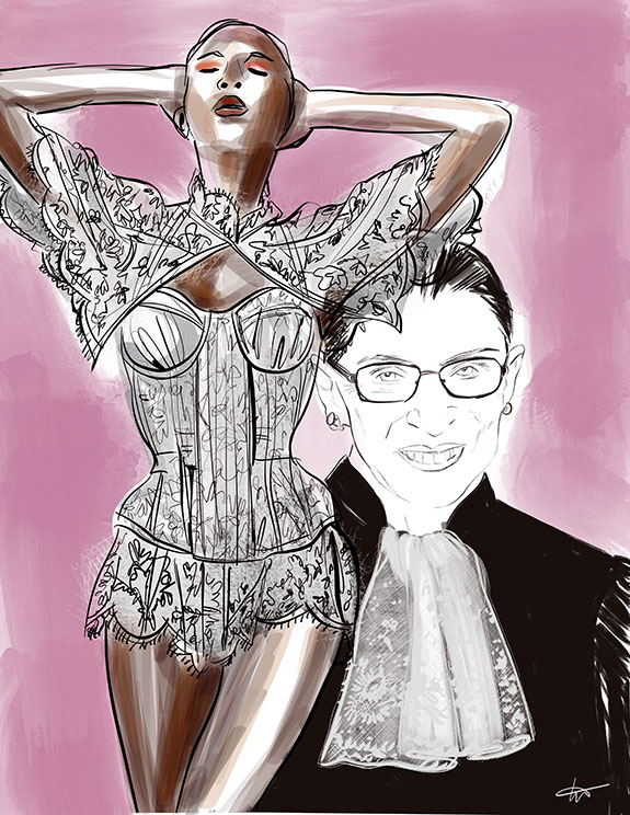 Ruth Bader Ginsburg collars as illustrated by Tina Wilson for Lingerie Briefs