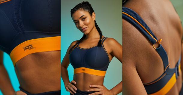 Panache best-selling wire free sports bra in Navy Orange - featured on Lingerie Briefs