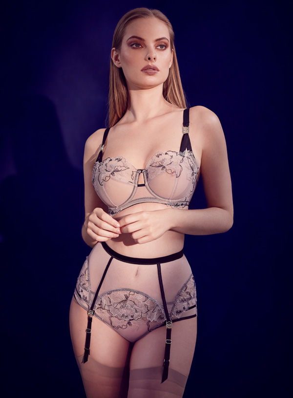 Katherine Hamilton launches the stunning Priya in black. Featured on Lingerie Briefs