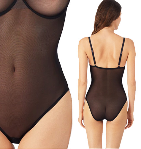 Le Mystere's sheer and supportive modern mesh bodysuit - featured on Lingerie Briefs