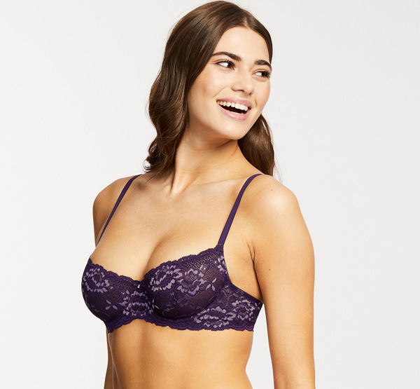 Flirt Demi Lace bra in velvet with orchid accents - featured on Lingerie Briefs