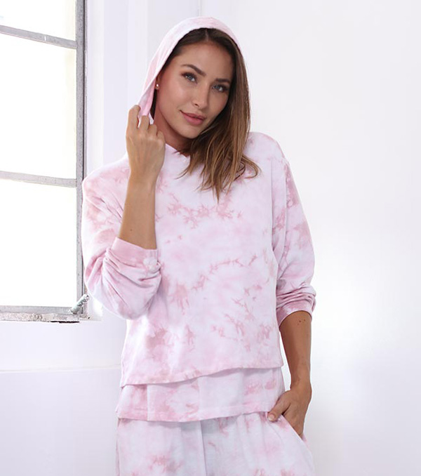 PJ Harlow Diana Hoodie Sweatshirt in tie dye featured on Lingerie Briefs